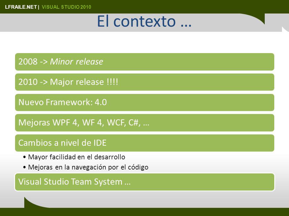 LFRAILE.NET | VISUAL STUDIO 2010 El contexto … 2008 -> Minor release2010 -> Major release !!!!Nuevo Framework: 4.0Mejoras WPF 4, WF 4, WCF, C#, …Cambios a nivel de IDE Mayor facilidad en el desarrollo Mejoras en la navegación por el código Visual Studio Team System …