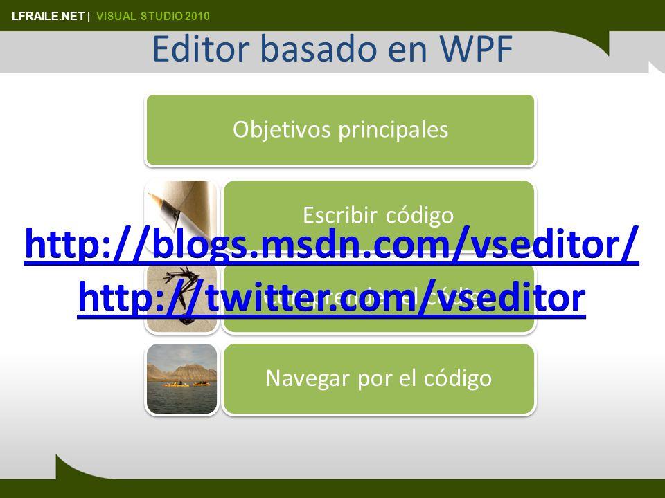 LFRAILE.NET | VISUAL STUDIO 2010 Editor basado en WPF Objetivos principales Escribir códigoComprender el códigoNavegar por el código