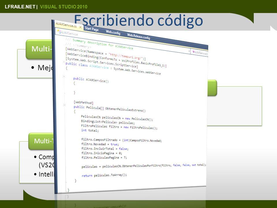 LFRAILE.NET   VISUAL STUDIO 2010 Locators LocatorDescripción xdt:Locator=Match(attributeName)Acepta varios separados por coma Xdt:Locator=Condition(xPath Predicate) xdt:Locator= Condition(@name=Nor thwind or @providerName= System.Data.SqlClient) Xdt:Locator=Xpath(/configuration/…) XPath(//system.web)