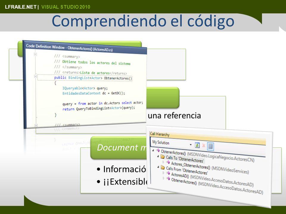 LFRAILE.NET   VISUAL STUDIO 2010 Intellisense mejorado Entry first mode Consume-first mode Dos modos Búsqueda en el listado Búsquedas de texto Más rápido Objetos dinámicos Javascript