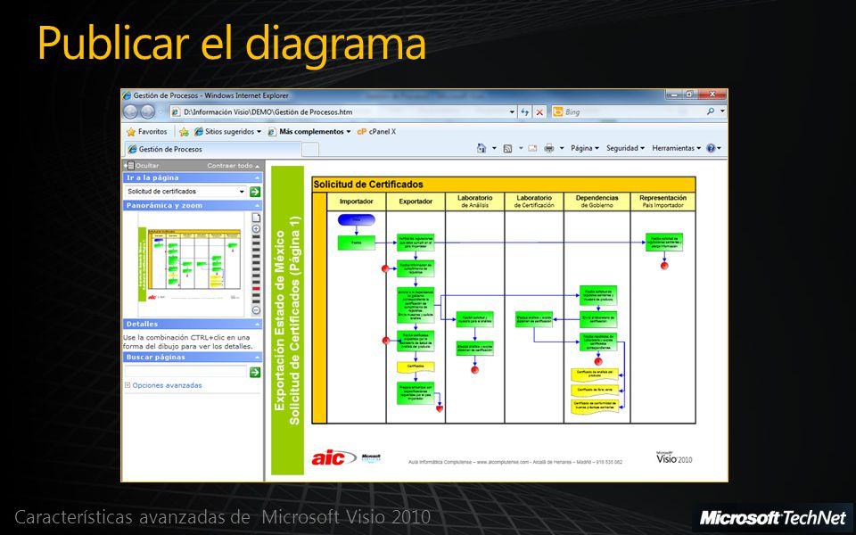 Características avanzadas de Microsoft Visio 2010 Publicar el diagrama