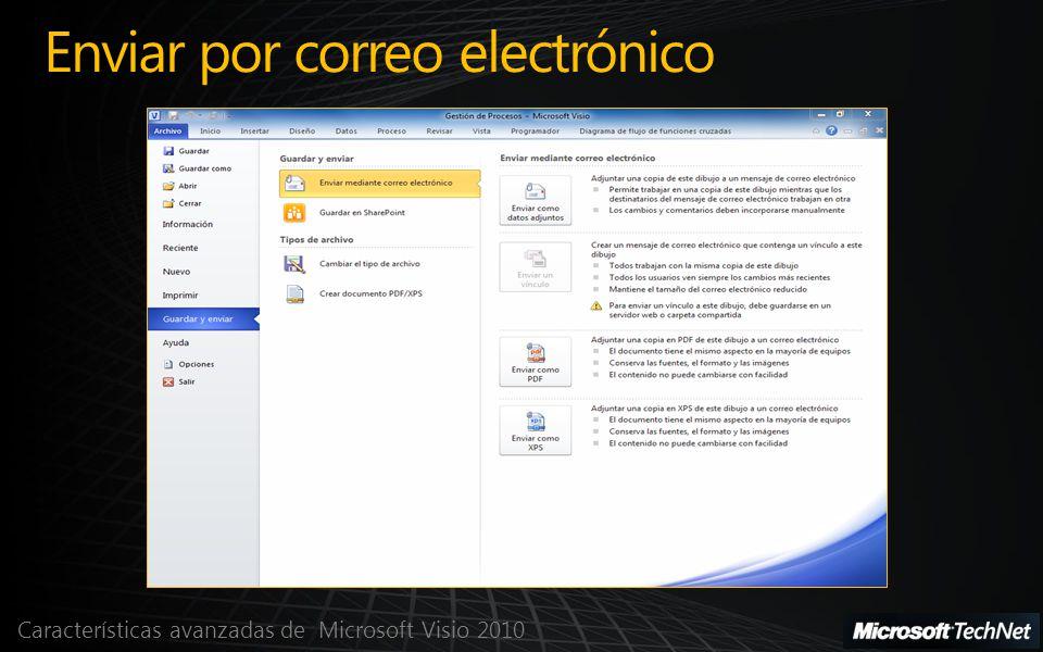 Características avanzadas de Microsoft Visio 2010 Enviar por correo electrónico