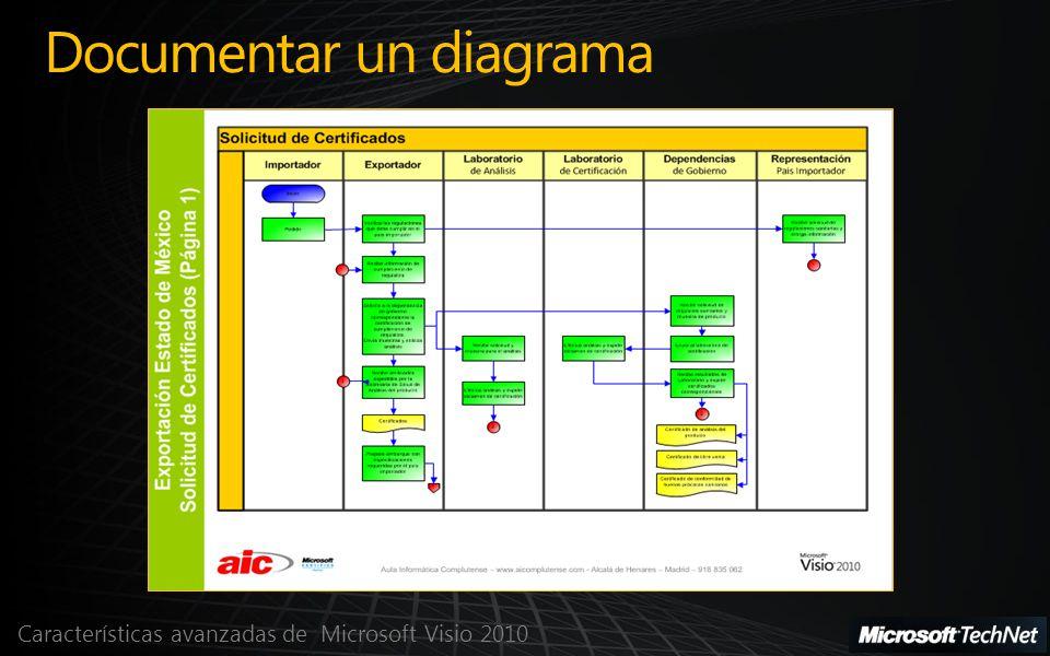 Características avanzadas de Microsoft Visio 2010 Documentar un diagrama