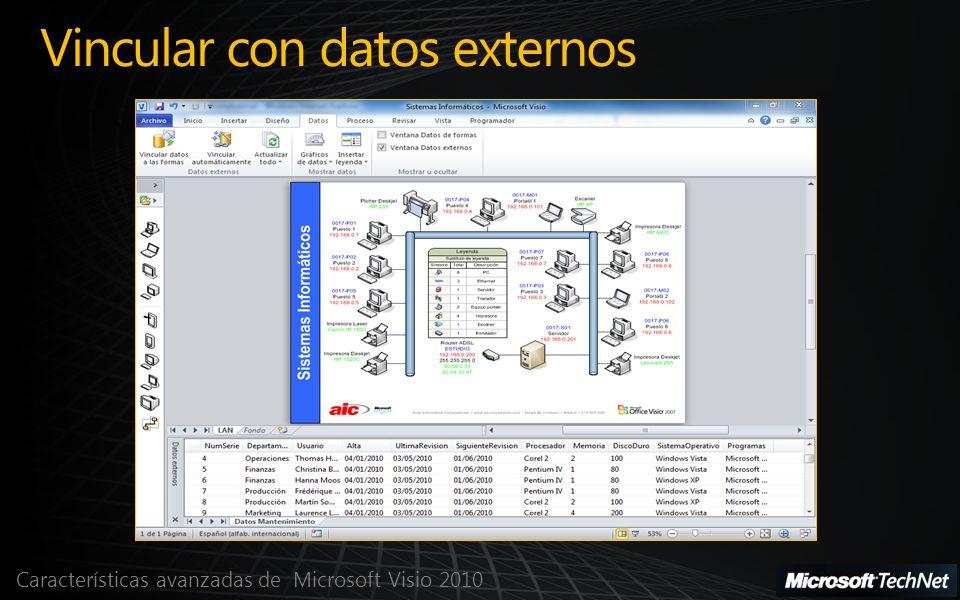 Características avanzadas de Microsoft Visio 2010 Vincular con datos externos