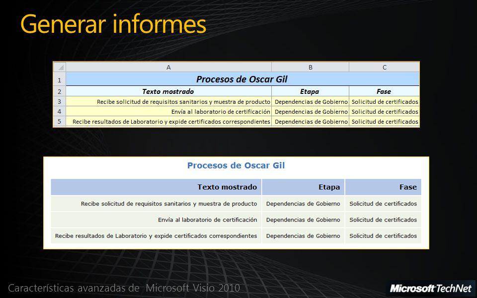 Características avanzadas de Microsoft Visio 2010 Generar informes