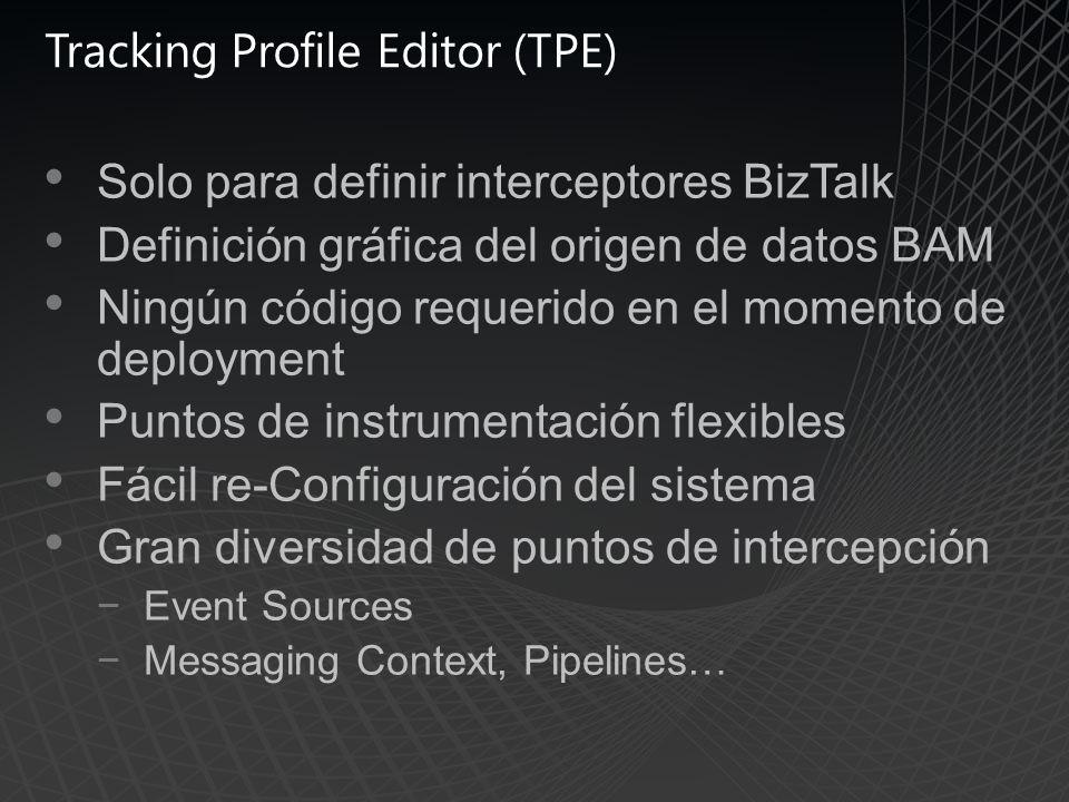 Tracking Profile Editor (TPE) Solo para definir interceptores BizTalk Definición gráfica del origen de datos BAM Ningún código requerido en el momento de deployment Puntos de instrumentación flexibles Fácil re-Configuración del sistema Gran diversidad de puntos de intercepción Event Sources Messaging Context, Pipelines…
