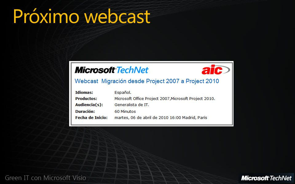 Próximo webcast Green IT con Microsoft Visio