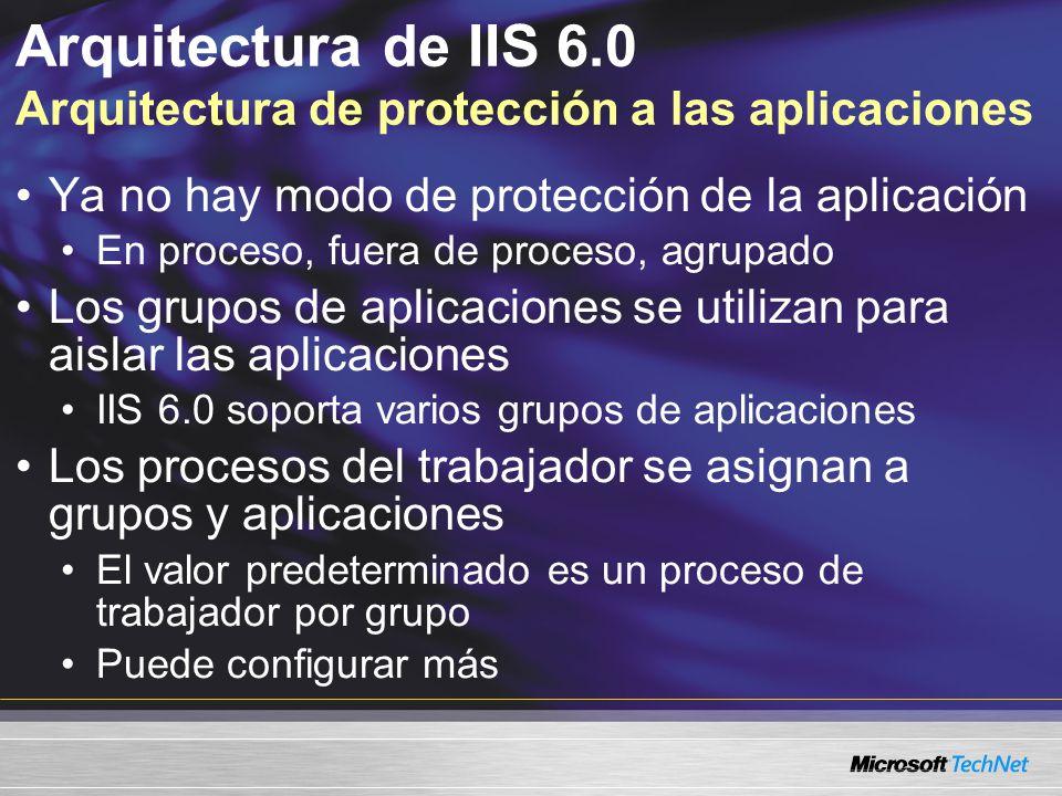 Arquitectura de IIS 6.0 Arquitectura de protección a las aplicaciones Ya no hay modo de protección de la aplicación En proceso, fuera de proceso, agru