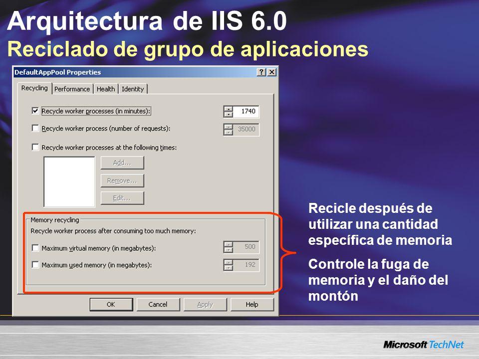 Arquitectura de IIS 6.0 Reciclado de grupo de aplicaciones Recicle después de utilizar una cantidad específica de memoria Controle la fuga de memoria
