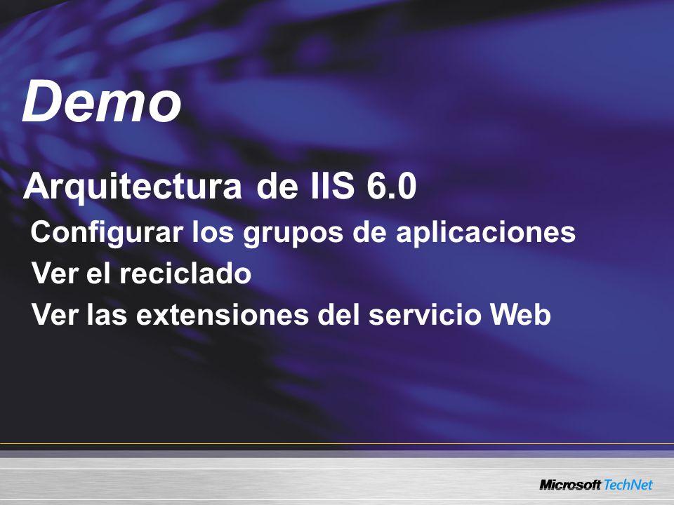 Arquitectura de IIS 6.0 Configurar los grupos de aplicaciones Ver el reciclado Ver las extensiones del servicio Web Demo