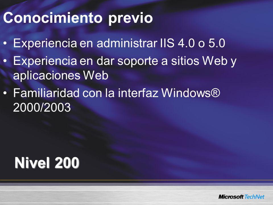 Conocimiento previo Nivel 200 Experiencia en administrar IIS 4.0 o 5.0 Experiencia en dar soporte a sitios Web y aplicaciones Web Familiaridad con la