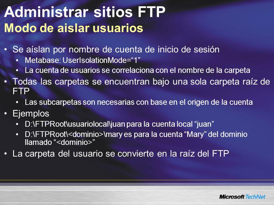 Administrar sitios FTP Modo de aislar usuarios Se aíslan por nombre de cuenta de inicio de sesión Metabase: UserIsolationMode=1 La cuenta de usuarios