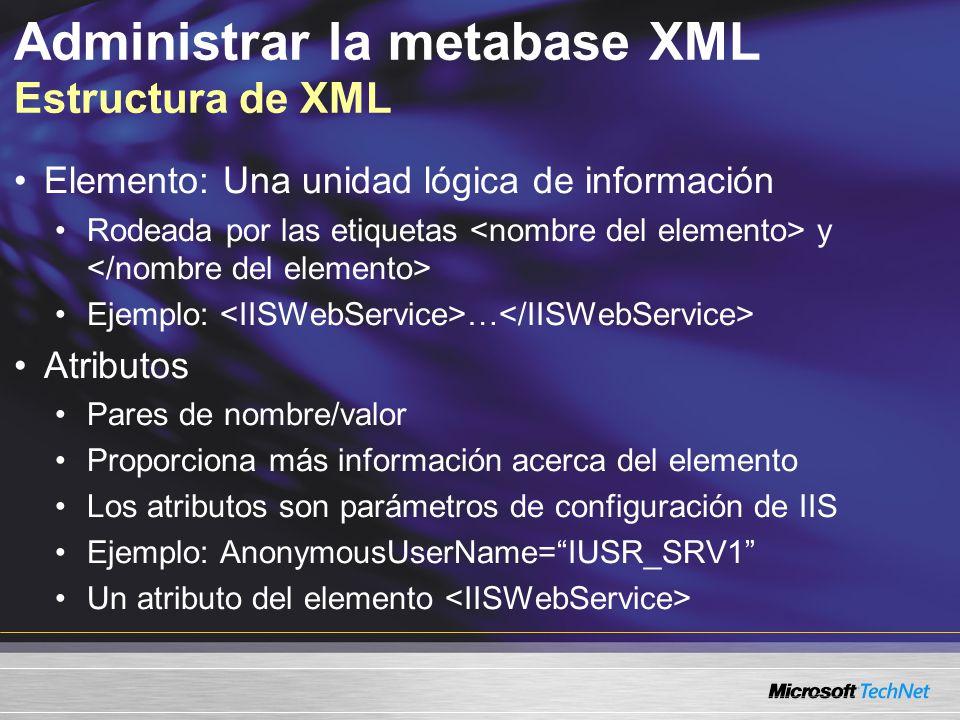 Administrar la metabase XML Estructura de XML Elemento: Una unidad lógica de información Rodeada por las etiquetas y Ejemplo: … Atributos Pares de nom