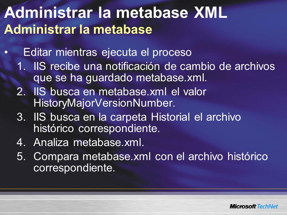 Administrar la metabase XML Administrar la metabase Editar mientras ejecuta el proceso 1.IIS recibe una notificación de cambio de archivos que se ha g