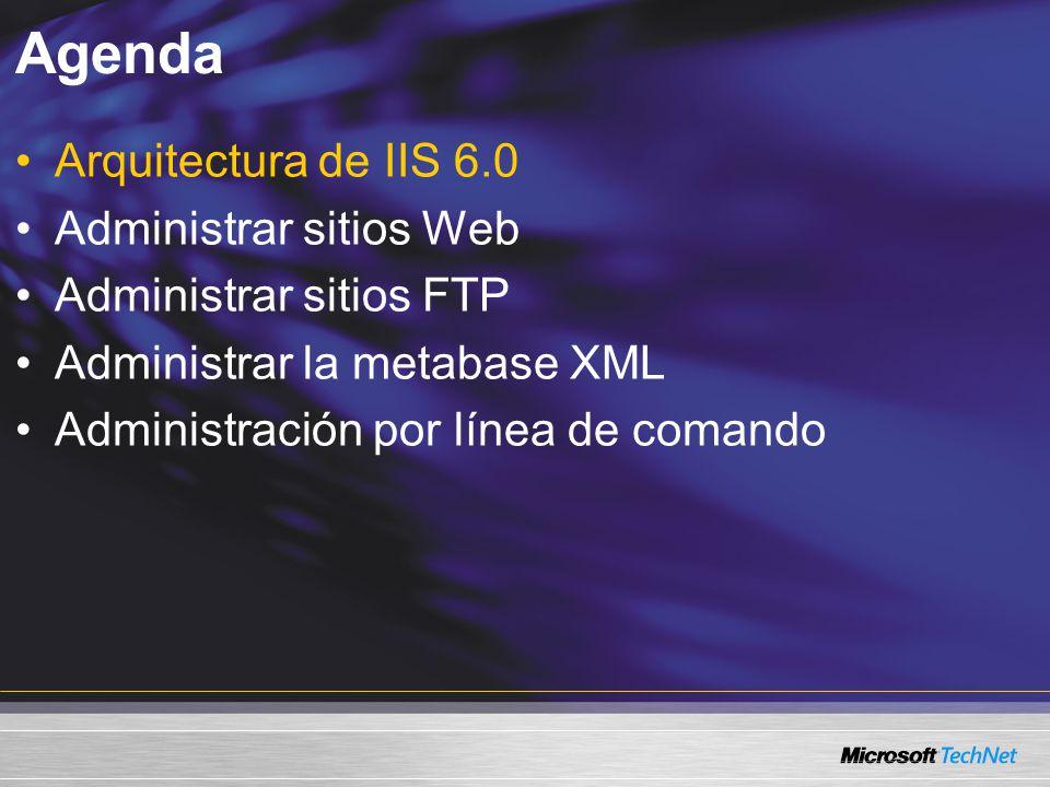 Administración por línea de comando Cadenas de comando integradas iisweb.vbs: Administración de sitio Web iisftp.vbs: Administración de sitio FTP iisvdir.vbs: Administración de directorio virtual iisftpdr.vbs: Administración de directorio virtual FTP