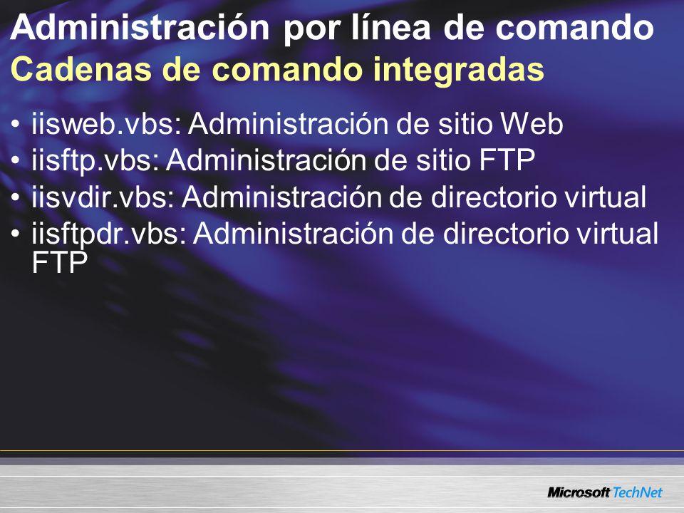 Administración por línea de comando Cadenas de comando integradas iisweb.vbs: Administración de sitio Web iisftp.vbs: Administración de sitio FTP iisv