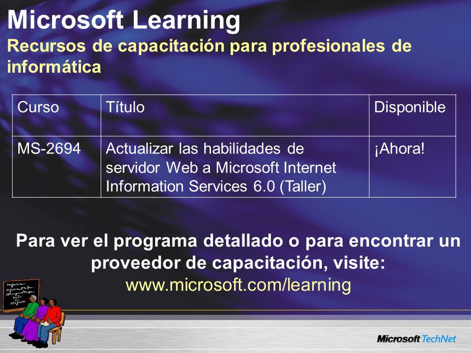 Microsoft Learning Recursos de capacitación para profesionales de informática CursoTítuloDisponible MS-2694Actualizar las habilidades de servidor Web