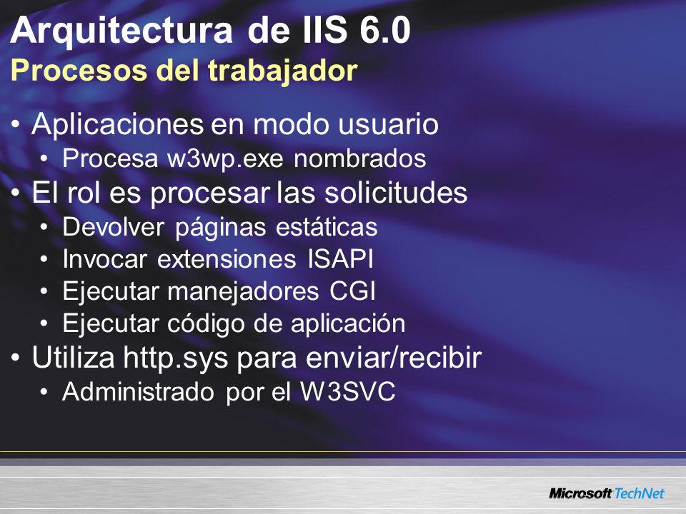 Arquitectura de IIS 6.0 Procesos del trabajador Aplicaciones en modo usuario Procesa w3wp.exe nombrados El rol es procesar las solicitudes Devolver pá