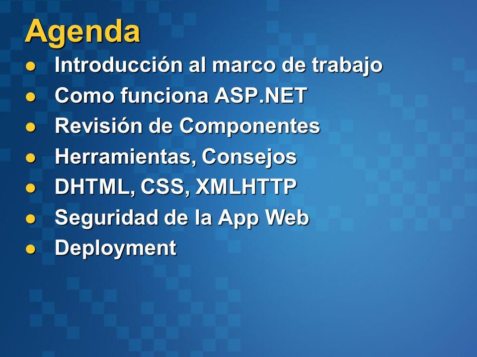 Introducción al marco de trabajo Introducción al marco de trabajo Como funciona ASP.NET Como funciona ASP.NET Revisión de Componentes Revisión de Componentes Herramientas, Consejos Herramientas, Consejos DHTML, CSS, XMLHTTP DHTML, CSS, XMLHTTP Seguridad de la App Web Seguridad de la App Web Deployment Deployment Agenda