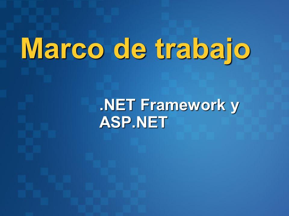 Framework, lenguaje y Herramientas Base Class Library Common Language Specification Common Language Runtime Datos y XML VBC++C# Visual Studio.NET Web Services JScript… Interface de Usuario