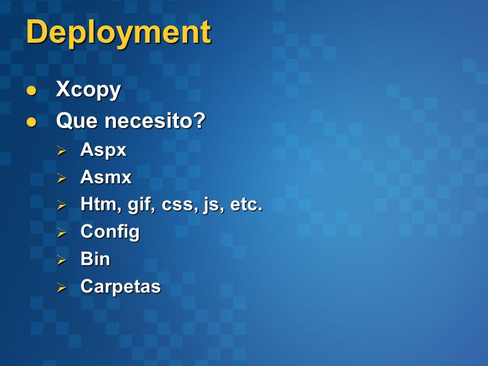 Deployment Xcopy Xcopy Que necesito. Que necesito.