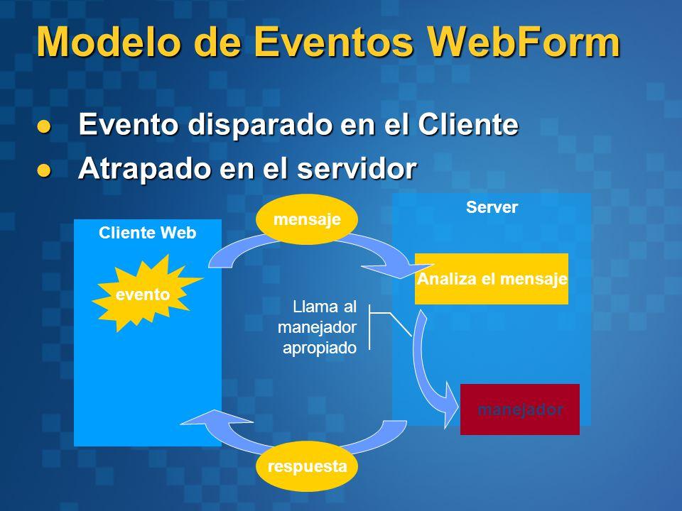 Modelo de Eventos WebForm Evento disparado en el Cliente Evento disparado en el Cliente Atrapado en el servidor Atrapado en el servidor Server Cliente Web Analiza el mensaje evento manejador mensaje respuesta Llama al manejador apropiado
