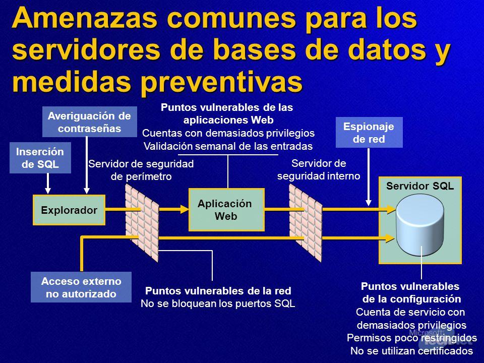 Amenazas comunes para los servidores de bases de datos y medidas preventivas Servidor SQL Explorador Aplicación Web Acceso externo no autorizado Inser