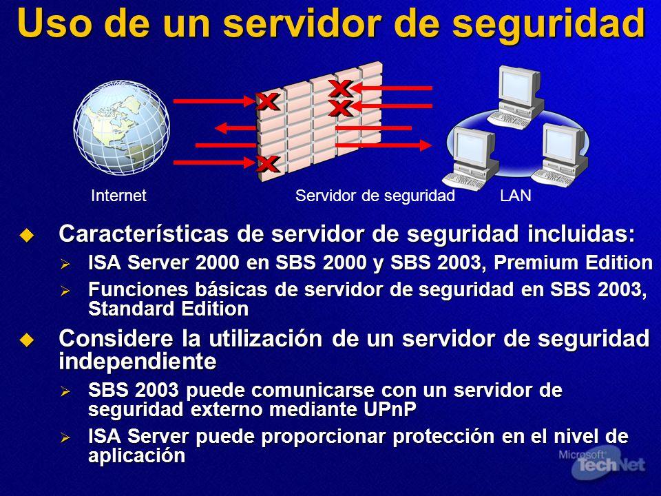 Uso de un servidor de seguridad Características de servidor de seguridad incluidas: Características de servidor de seguridad incluidas: ISA Server 2000 en SBS 2000 y SBS 2003, Premium Edition ISA Server 2000 en SBS 2000 y SBS 2003, Premium Edition Funciones básicas de servidor de seguridad en SBS 2003, Standard Edition Funciones básicas de servidor de seguridad en SBS 2003, Standard Edition Considere la utilización de un servidor de seguridad independiente Considere la utilización de un servidor de seguridad independiente SBS 2003 puede comunicarse con un servidor de seguridad externo mediante UPnP SBS 2003 puede comunicarse con un servidor de seguridad externo mediante UPnP ISA Server puede proporcionar protección en el nivel de aplicación ISA Server puede proporcionar protección en el nivel de aplicación InternetServidor de seguridadLAN