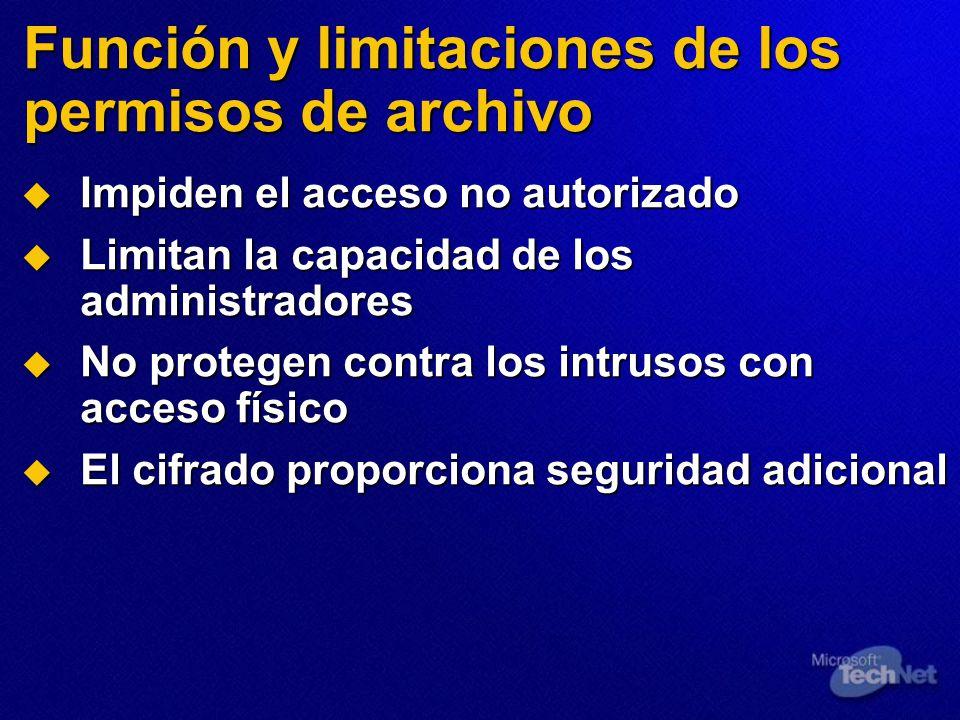 Función y limitaciones de los permisos de archivo Impiden el acceso no autorizado Impiden el acceso no autorizado Limitan la capacidad de los administ