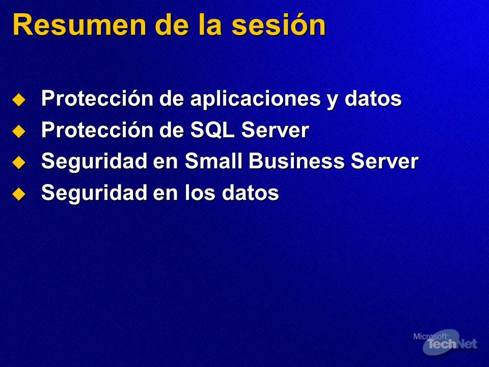 Resumen de la sesión Protección de aplicaciones y datos Protección de aplicaciones y datos Protección de SQL Server Protección de SQL Server Seguridad en Small Business Server Seguridad en Small Business Server Seguridad en los datos Seguridad en los datos