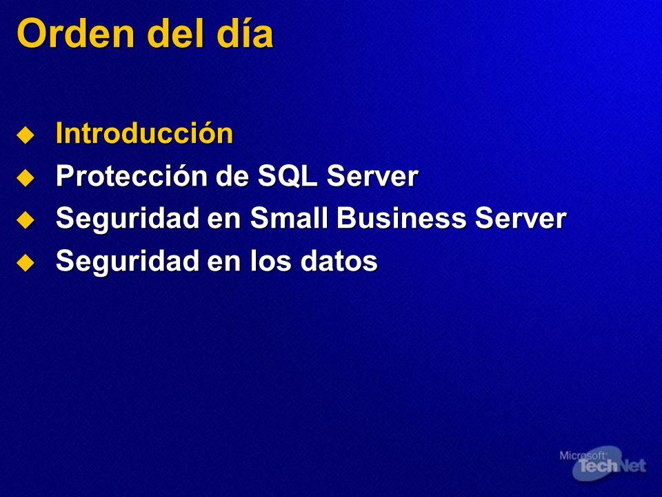 Orden del día Introducción Introducción Protección de SQL Server Protección de SQL Server Seguridad en Small Business Server Seguridad en Small Business Server Seguridad en los datos Seguridad en los datos