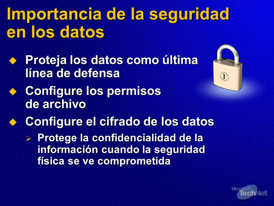 Importancia de la seguridad en los datos Proteja los datos como última línea de defensa Proteja los datos como última línea de defensa Configure los permisos de archivo Configure los permisos de archivo Configure el cifrado de los datos Configure el cifrado de los datos Protege la confidencialidad de la información cuando la seguridad física se ve comprometida Protege la confidencialidad de la información cuando la seguridad física se ve comprometida