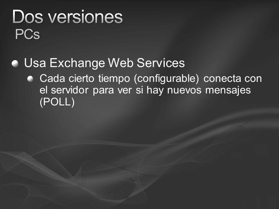 Usa Exchange Web Services Cada cierto tiempo (configurable) conecta con el servidor para ver si hay nuevos mensajes (POLL)