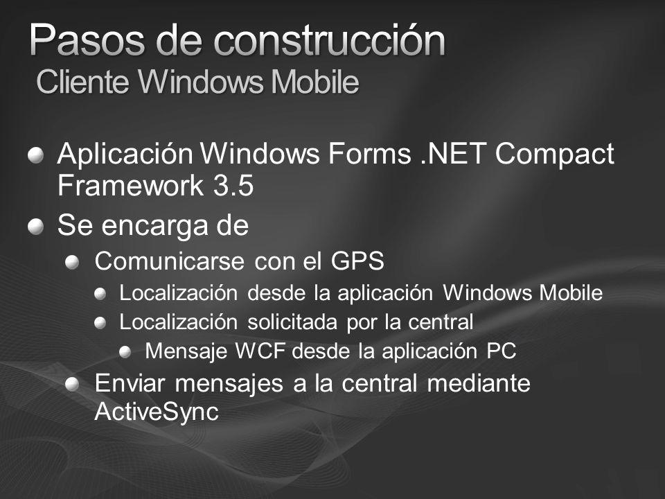 Aplicación Windows Forms.NET Compact Framework 3.5 Se encarga de Comunicarse con el GPS Localización desde la aplicación Windows Mobile Localización solicitada por la central Mensaje WCF desde la aplicación PC Enviar mensajes a la central mediante ActiveSync
