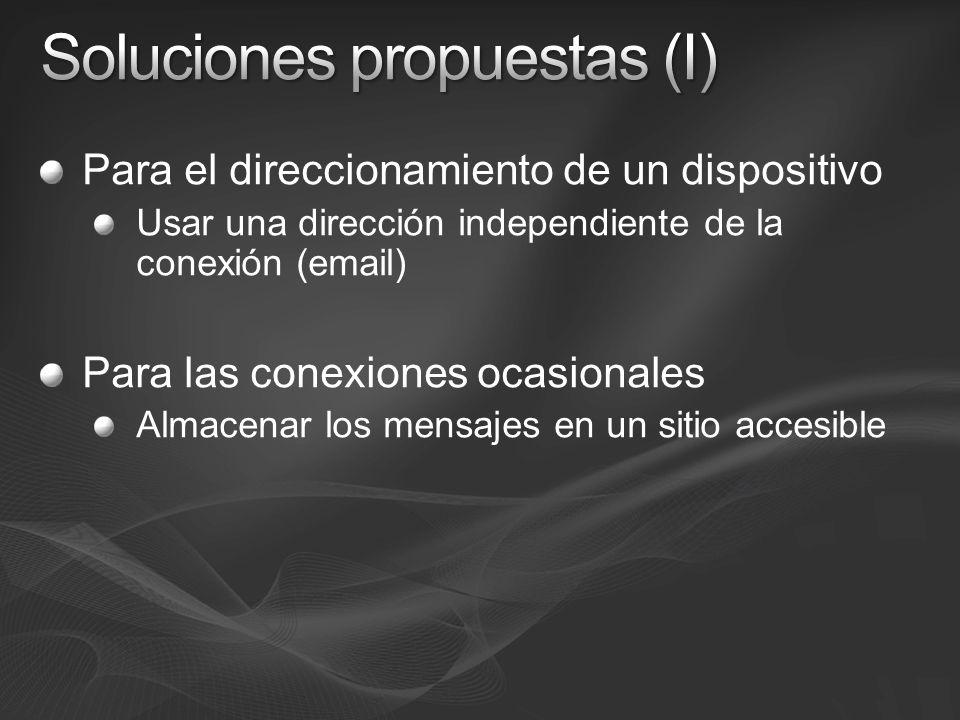 Para el direccionamiento de un dispositivo Usar una dirección independiente de la conexión (email) Para las conexiones ocasionales Almacenar los mensajes en un sitio accesible
