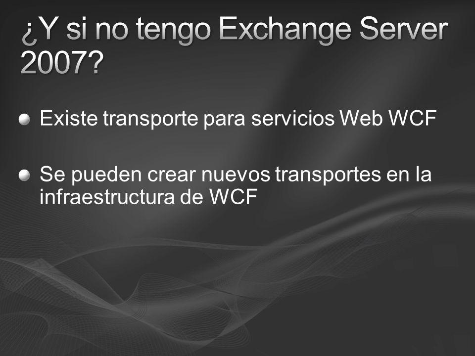 Existe transporte para servicios Web WCF Se pueden crear nuevos transportes en la infraestructura de WCF