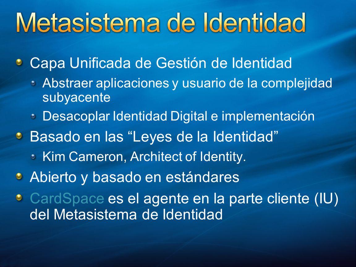 Capa Unificada de Gestión de Identidad Abstraer aplicaciones y usuario de la complejidad subyacente Desacoplar Identidad Digital e implementación Basado en las Leyes de la Identidad Kim Cameron, Architect of Identity.