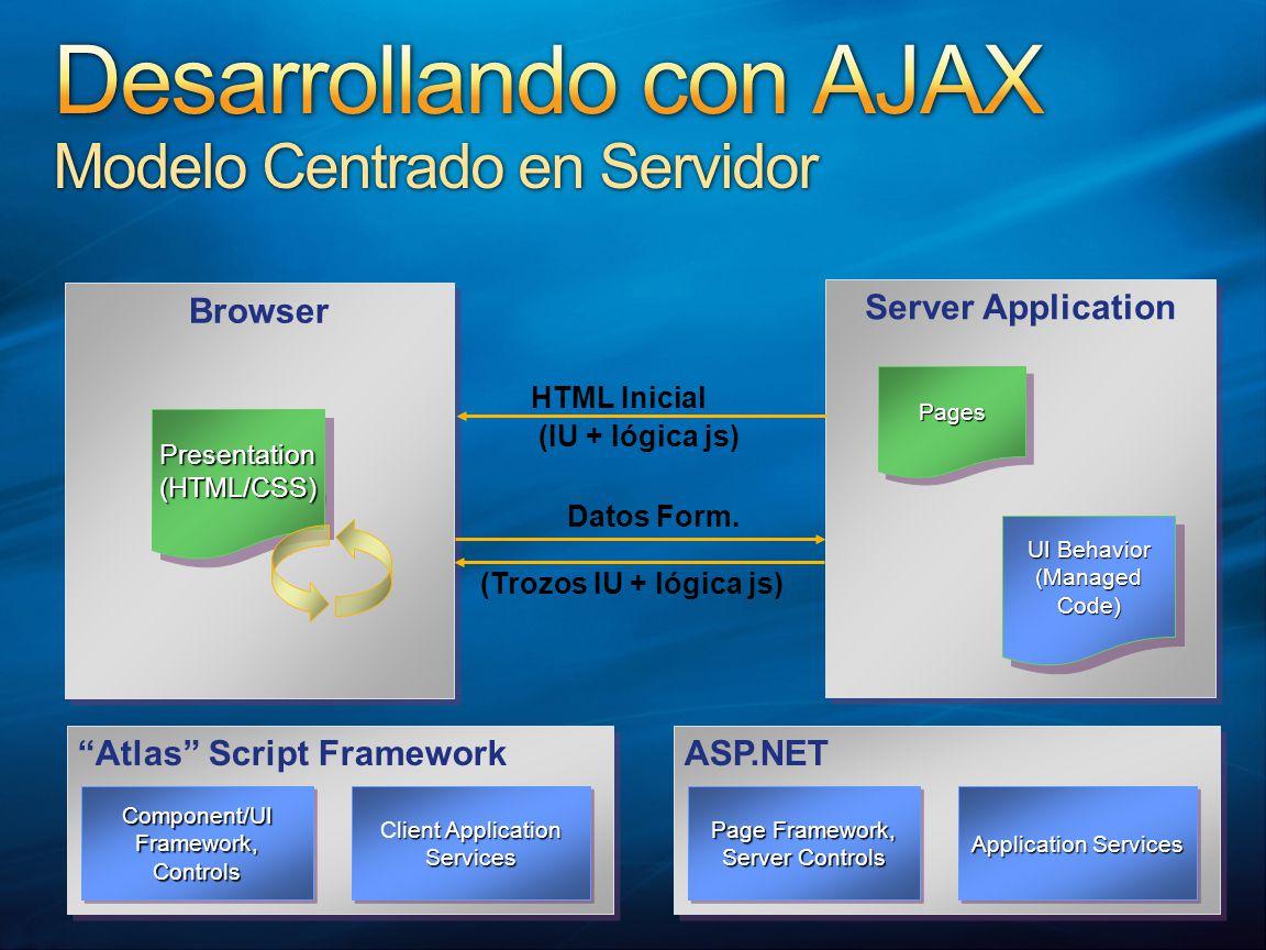 ASP.NET Application Services Page Framework, Server Controls Page Framework, Server Controls Atlas Script Framework lient Application Services Client