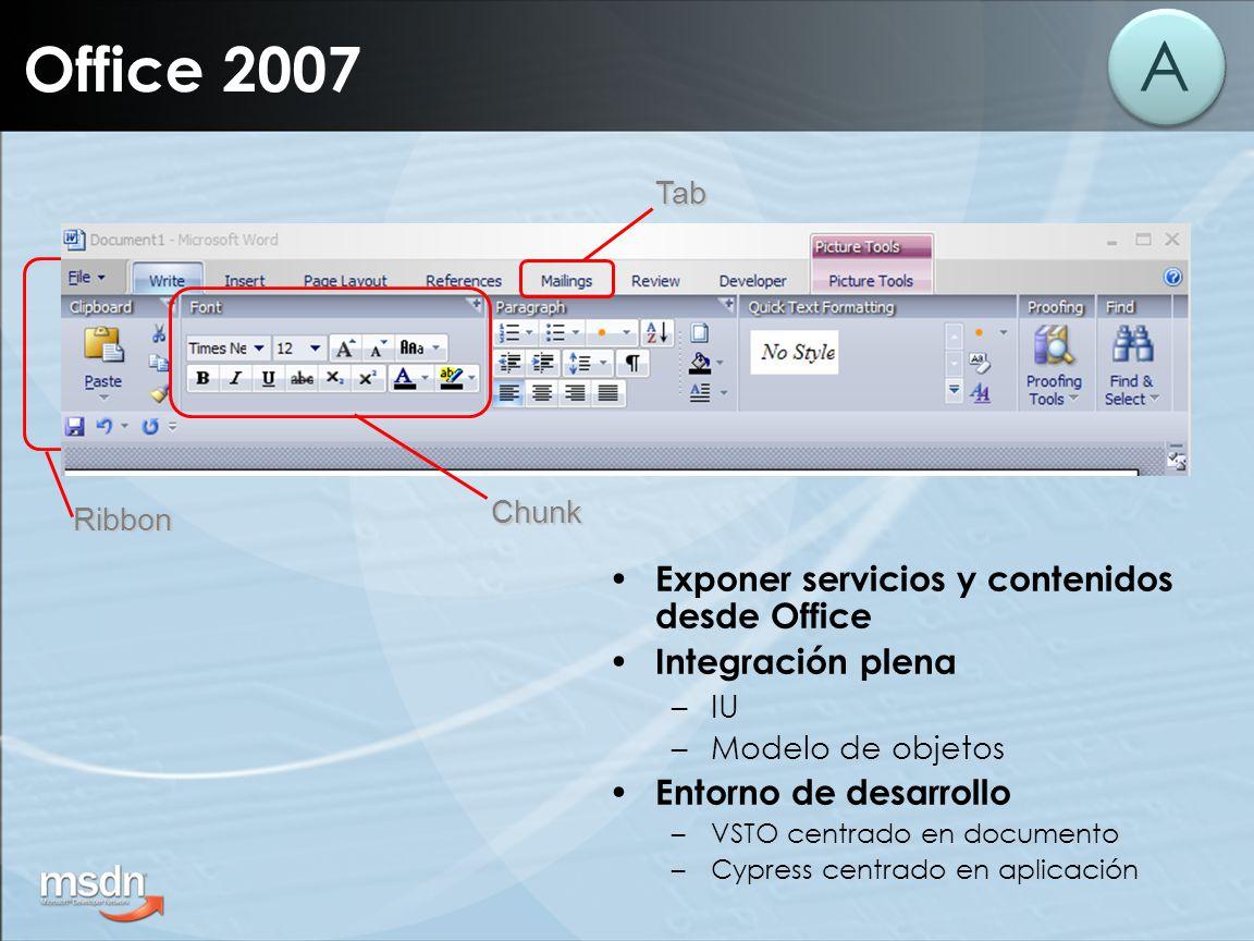 Office 2007TabChunk Ribbon A Exponer servicios y contenidos desde Office Integración plena –IU –Modelo de objetos Entorno de desarrollo –VSTO centrado en documento –Cypress centrado en aplicación