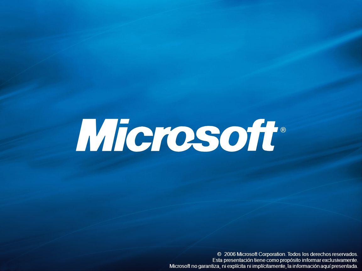 ©2006 Microsoft Corporation. Todos los derechos reservados. Esta presentación tiene como propósito informar exclusivamente. Microsoft no garantiza, ni