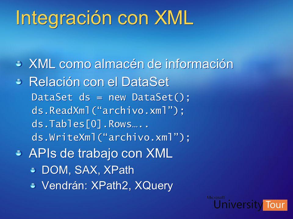 Integración con XML XML como almacén de información Relación con el DataSet DataSet ds = new DataSet(); ds.ReadXml(archivo.xml); ds.Tables[0].Rows…..