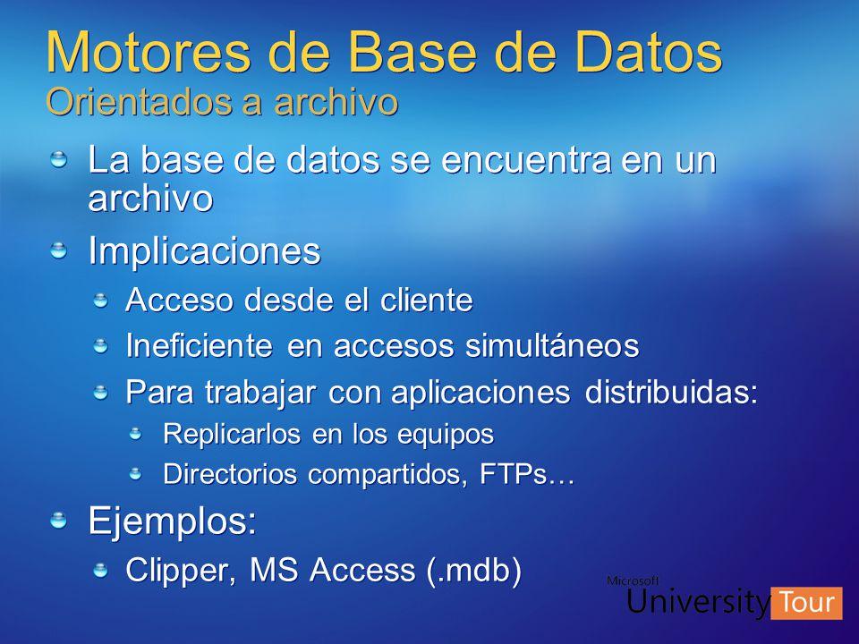 Motores de Base de Datos Orientados a archivo La base de datos se encuentra en un archivo Implicaciones Acceso desde el cliente Ineficiente en accesos