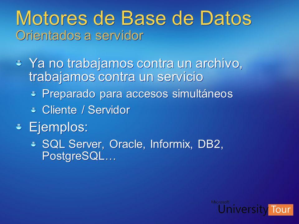 Motores de Base de Datos Orientados a servidor Ya no trabajamos contra un archivo, trabajamos contra un servicio Preparado para accesos simultáneos Cl