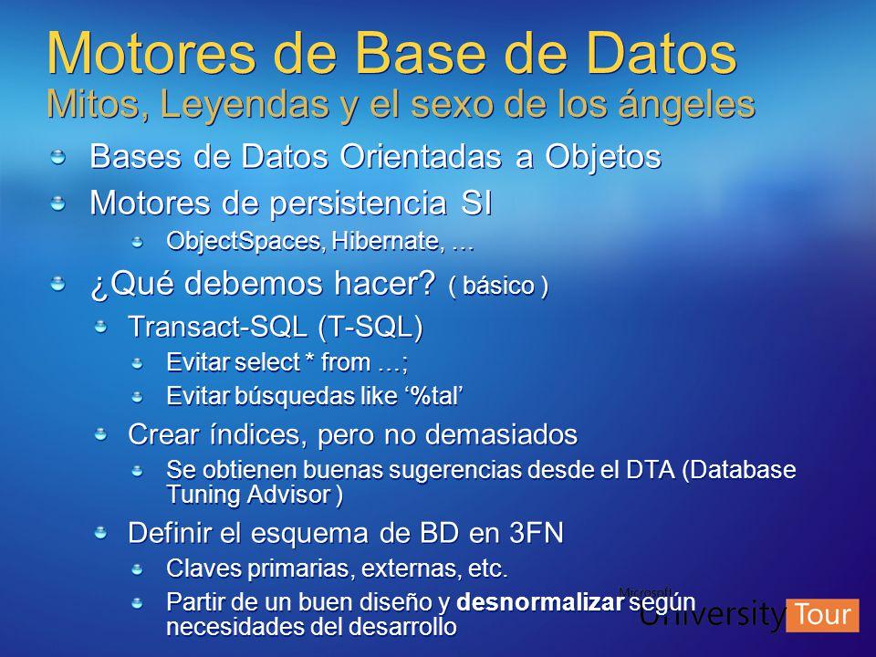 Motores de Base de Datos Mitos, Leyendas y el sexo de los ángeles Bases de Datos Orientadas a Objetos Motores de persistencia SI ObjectSpaces, Hiberna