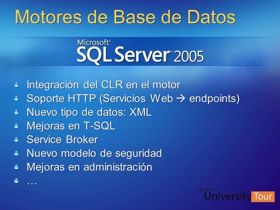 Motores de Base de Datos Integración del CLR en el motor Soporte HTTP (Servicios Web endpoints) Nuevo tipo de datos: XML Mejoras en T-SQL Service Brok