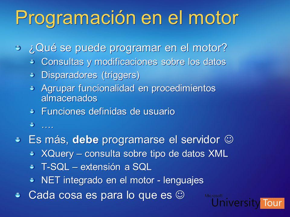 Programación en el motor ¿Qué se puede programar en el motor? Consultas y modificaciones sobre los datos Disparadores (triggers) Agrupar funcionalidad