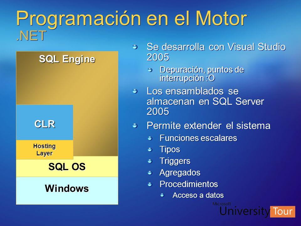 Programación en el Motor.NET Se desarrolla con Visual Studio 2005 Depuración, puntos de interrupción :O Los ensamblados se almacenan en SQL Server 200