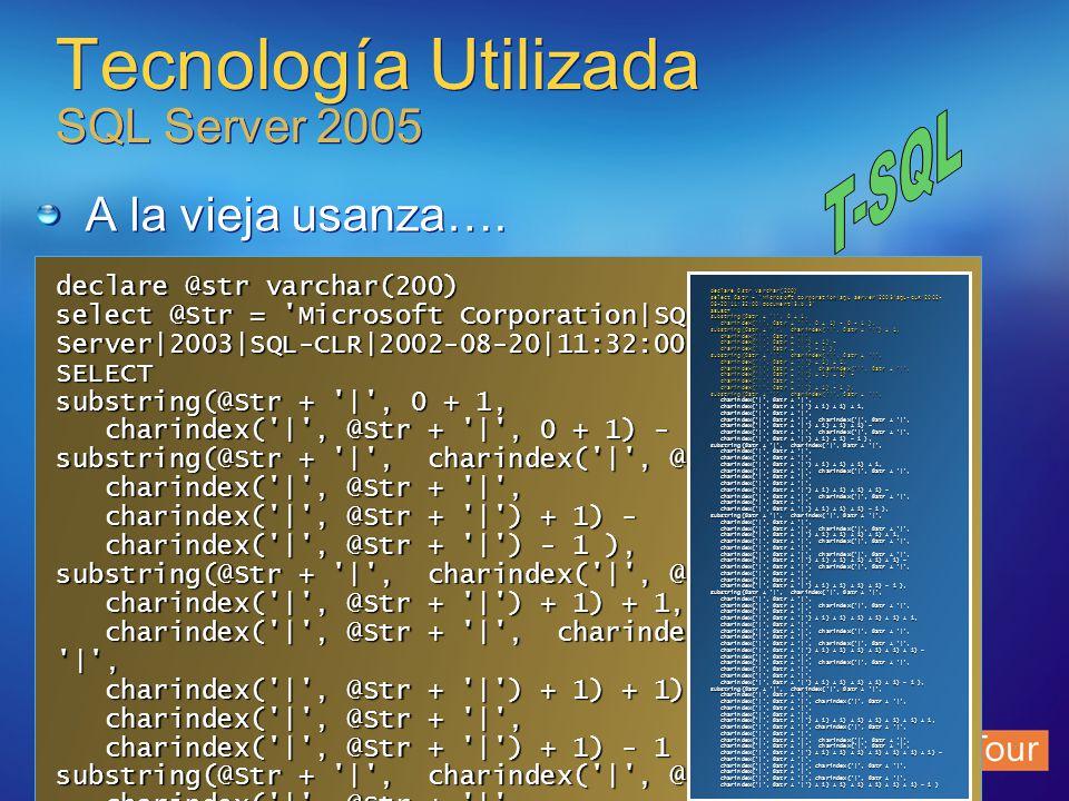 Tecnología Utilizada SQL Server 2005 A la vieja usanza…. declare @str varchar(200) select @Str = 'Microsoft Corporation|SQL Server|2003|SQL-CLR|2002-0