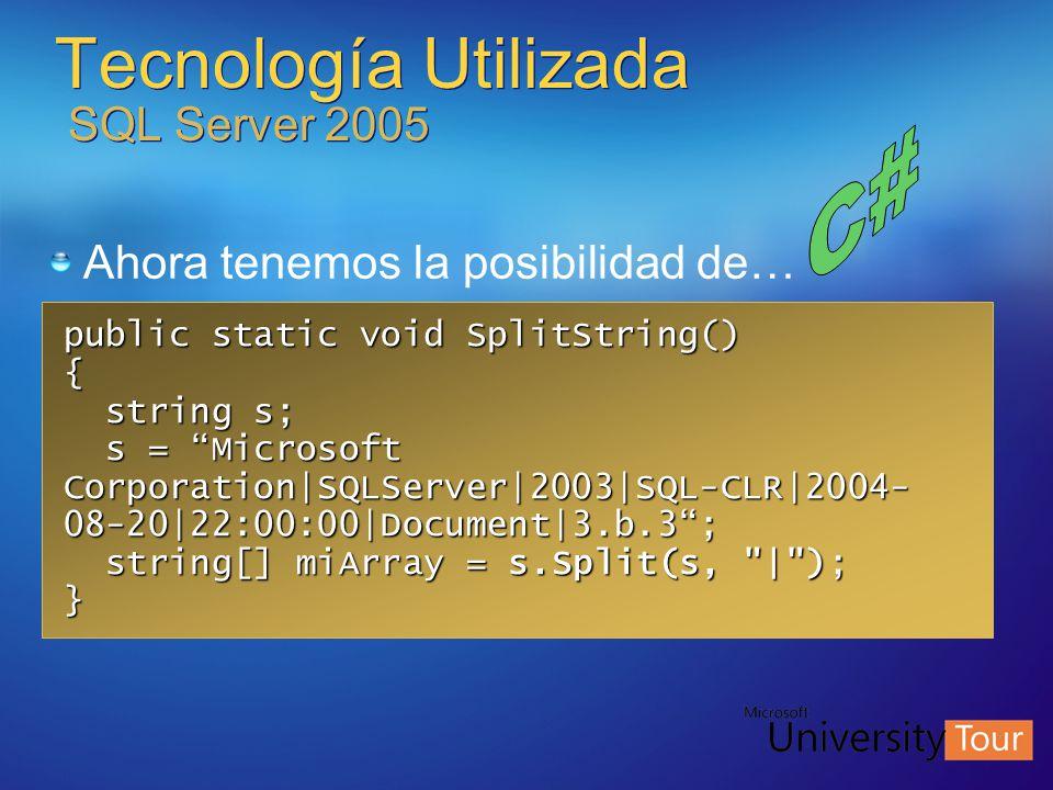 Tecnología Utilizada SQL Server 2005 public static void SplitString() { string s; string s; s = Microsoft s = Microsoft Corporation|SQLServer|2003|SQL