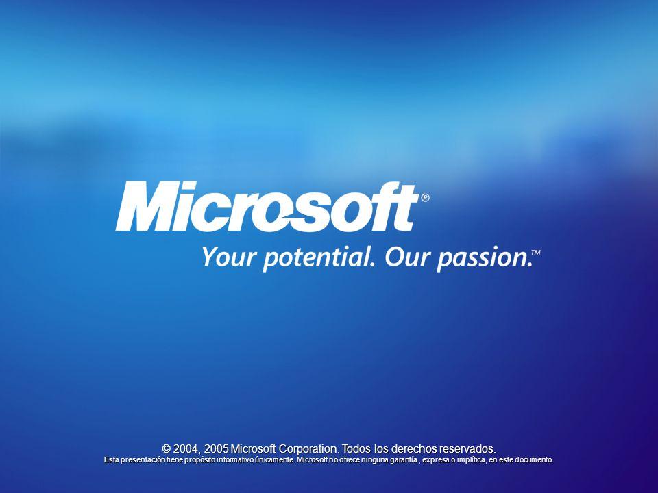 © 2004, 2005 Microsoft Corporation. Todos los derechos reservados. Esta presentación tiene propósito informativo únicamente. Microsoft no ofrece ningu